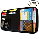 Fancy Mobility Car Sun Visor Organizer - Auto Document and Small Storage Holder - Pouch for Registration and Insurance - Perfect Minimalist Design - With a Unique eBook & 5 Years Warranty (Pack of 5)