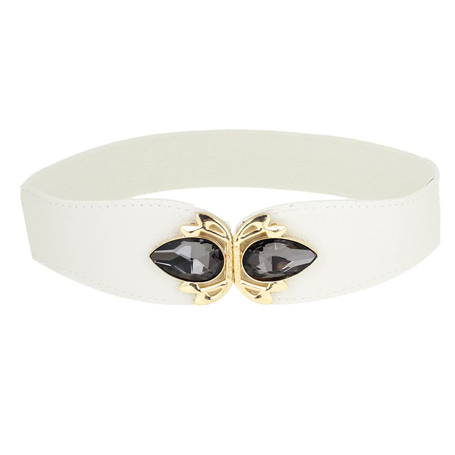Lady Artificial Crystal Decor Faux Leather White Elastic Waist Belt Waistband