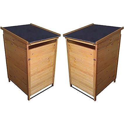 X 2 madera Wheelie papelera de almacenamiento cobertizos de jardín - 70 x 80 x 127