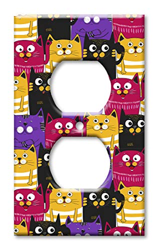 Purple Solid Faceplate Cover - Art Plates Duplex Outlet Cover Wall Plate - Black, Purple and Orange Cat Toss