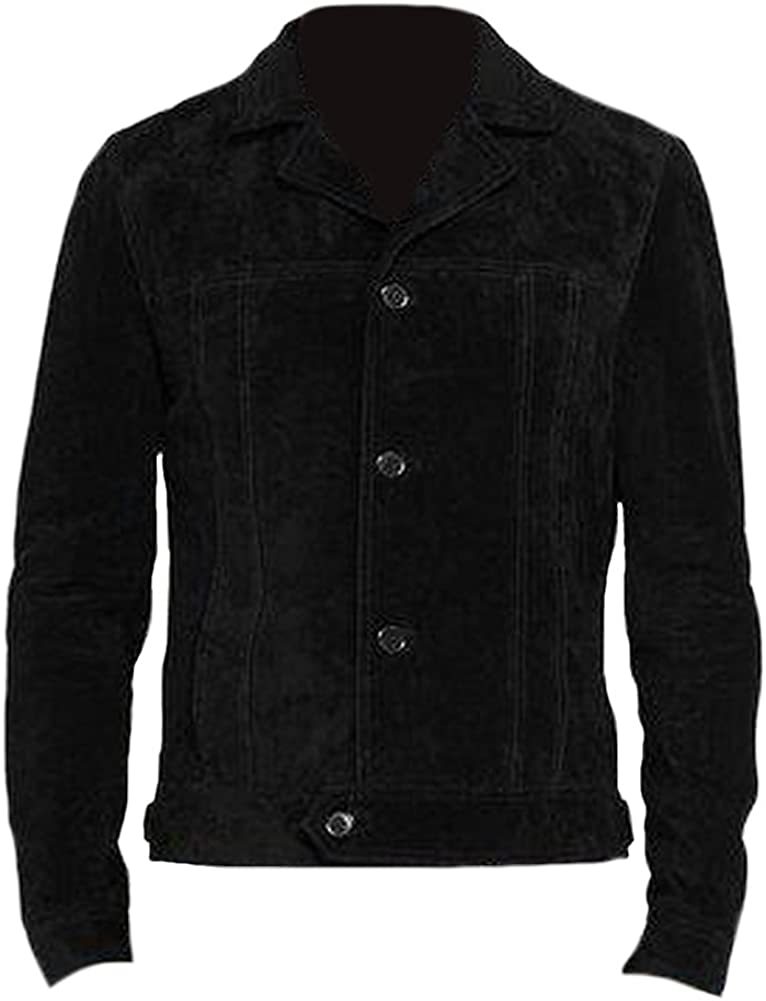 Classyak Mens Fashion Black Suede Leather Jacket Xs-5Xl