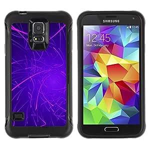 Suave TPU Caso Carcasa de Caucho Funda para Samsung Galaxy S5 SM-G900 / Purple Lines Rave Glow Stick / STRONG