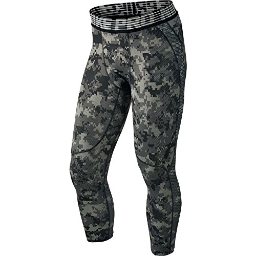 Gear Running Nike - Nike Mens Pro Hypercool 3/4 Digi Camo Tights Tumbled Grey/Black 828166-037 Size Large