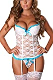 Women Corset Lingerie Sets Babydoll Sleepwear with G-String and Stocking