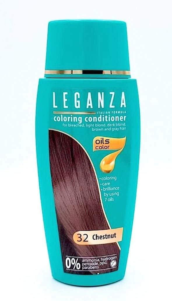 Leganza Pack Ahorro de 2 x Tinte Bálsamo para Cabello sin Ammoniaque Color Marrón N32, 7 aceites naturales
