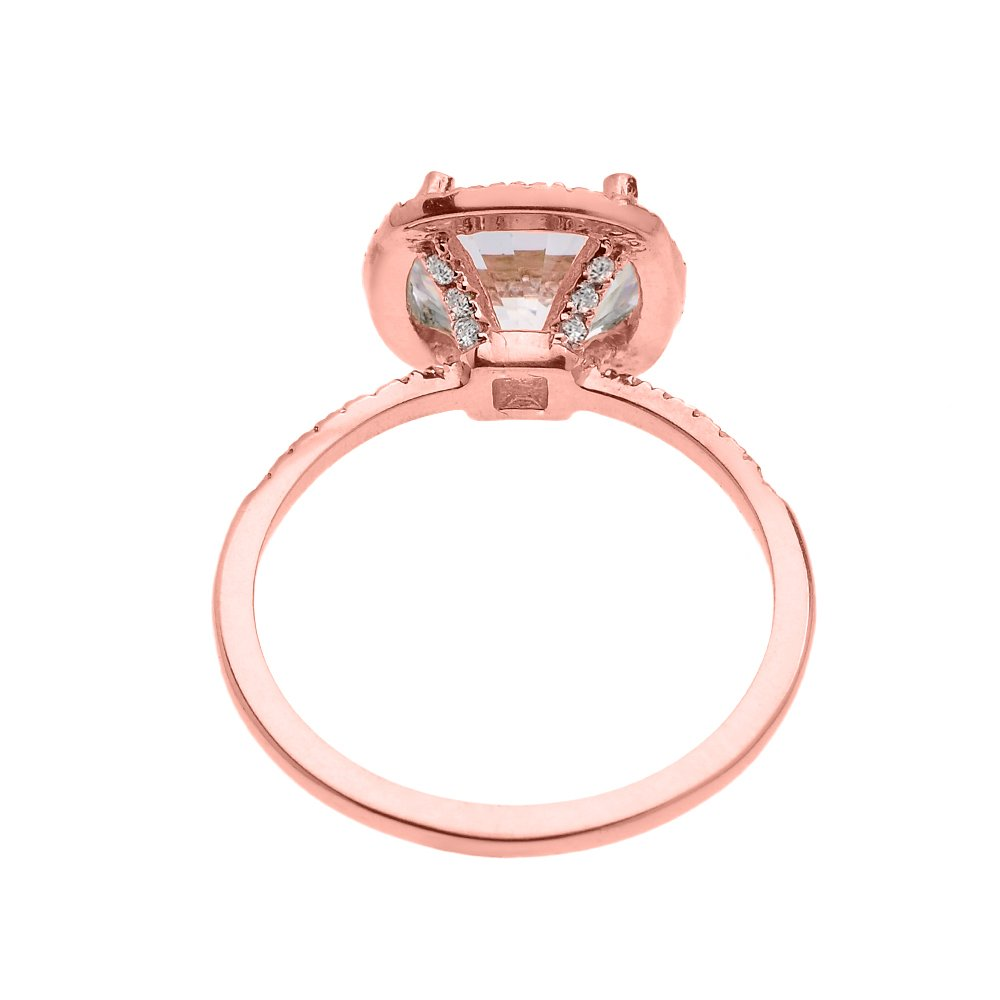 Dainty 14k Rose Gold Cushion Shape Halo 4 Carat Total Weight CZ Solitaire Engagement and Proposal Ring (Size 5.75) by CZ Engagement Rings (Image #2)