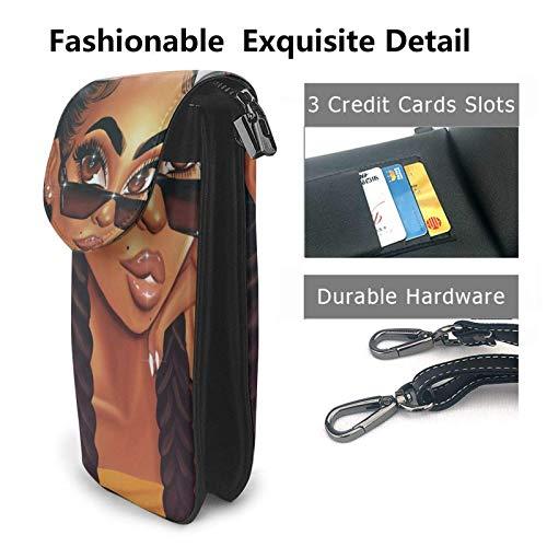 HYJUK Mobiltelefon crossbody väska afro flickor kvinnor PU-läder mode handväska med justerbar rem