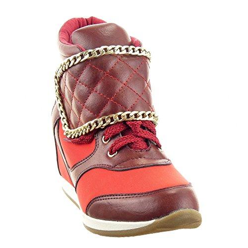 Sopily - Scarpe da Moda Sneaker Zeppa alti alla caviglia donna trapuntata catena metallico Tacco zeppa 9 CM - soletta tessuto - Rosso