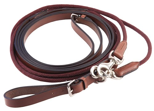 Henri de Rivel Rounded Nylon/Leather SNAP Draw REINS, Havana, N/A