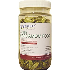 Blue Lily Organics Green Whole Cardamom Pods - 3 Oz Spice Jar - Certified Organic