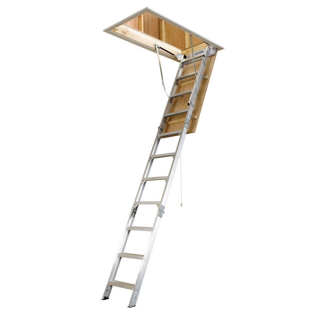 Werner 8 ft.-10 ft. 25 in. x 54 in. Aluminum Attic Ladder with 375 lb. Maximum Load Capacity