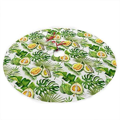 LALABULU Christmas Tree Skirt Durian Palm Tree Pattern Faux Fur 36 Inches for Christmas Decorations