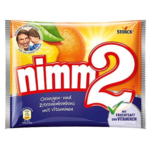 nimm2 – Kleine Süßigkeiten-Bonbons mit flüssigem Kern aus Fruchtsaft und reichhaltigen Vitaminen für Kinder und Erwachsene – (15 x 145g Beutel)