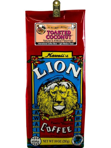 Hawaiian Value Pack Lion Coffee Ground Toasted Coconut 4 Bags by Lion Coffee