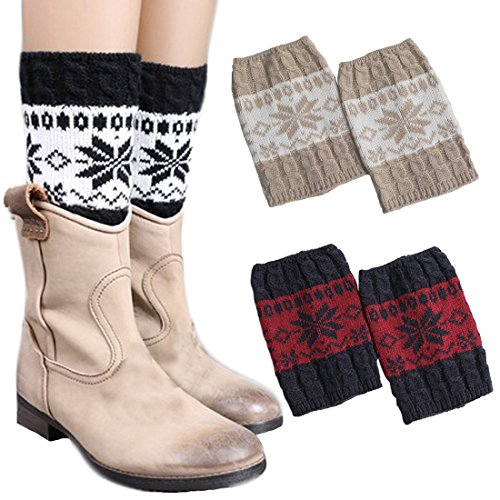 New 3 Pairs Women Boot Cuffs Leg Warmers Crochet Short Knitted Socks Warm Toppers Winter FAYBOX hot sale YONIqVp3