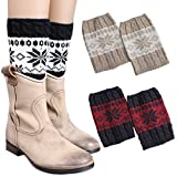 3 Pairs Women Boot Cuffs Leg Warmers Crochet Short Knitted Socks Warm Toppers Winter FAYBOX