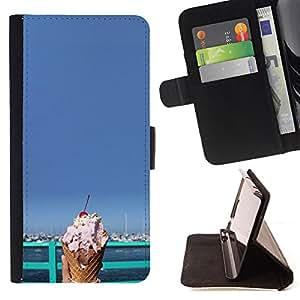 Dragon Case- Caja de la carpeta del caso en folio de cuero del tir¨®n de la cubierta protectora Shell FOR Apple iPhone 6 6S Plus 5.5- Ice Cream Summer