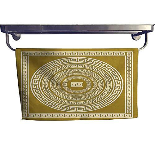 "alisoso Greek Key Pattern Towel Set Frieze with Vintage Ornament Meander Pattern from Greece Retro Twist Lines Square Scarf Set W 14"" x L 14"" Goldenrod White"