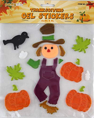 turkey home office assorted variety fall gel clings happy harvest pumpkins scarecrow turkey leaves decorations for home office windows