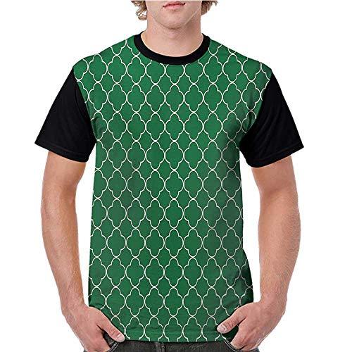 Short Sleeve,Quatrefoil,Four Leaf Clover Flower on Moroccan Trellis Mosaic Pattern Traditional Digital Print,Green S-XXL Baseball Women Short Shirts