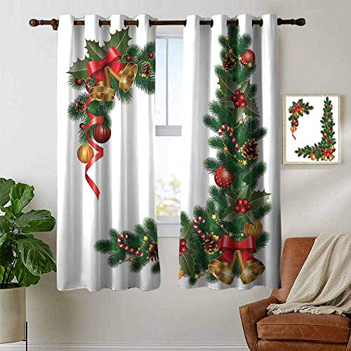petpany Modern Farmhouse Country Curtains Christmas,Noel Ornaments Themed Fir Tree with Ornaments Classical New Year Concept Print,Green Golden,Design Drapes 2 Panels Bedroom Kitchen Curtains 42