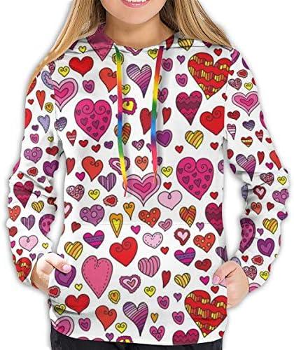 Women's Hoodies Tops,Heart Figures Doodle Style Childish Love Pattern Hand Drawn Romance Icons Motif Design,Lady Fashion Casual Sweatshirt