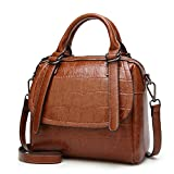 Women Fashion Shoulder Bag,ZZSY Leather Top Handle Satchel Handbag Crocodile Crossbody Bag for Ladies