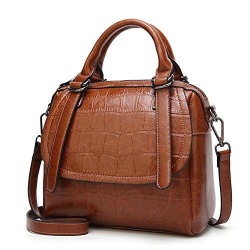er Bag,ZZSY Leather Top Handle Satchel Handbag Crocodile Crossbody Bag for Ladies (Flap Leather Handbag)