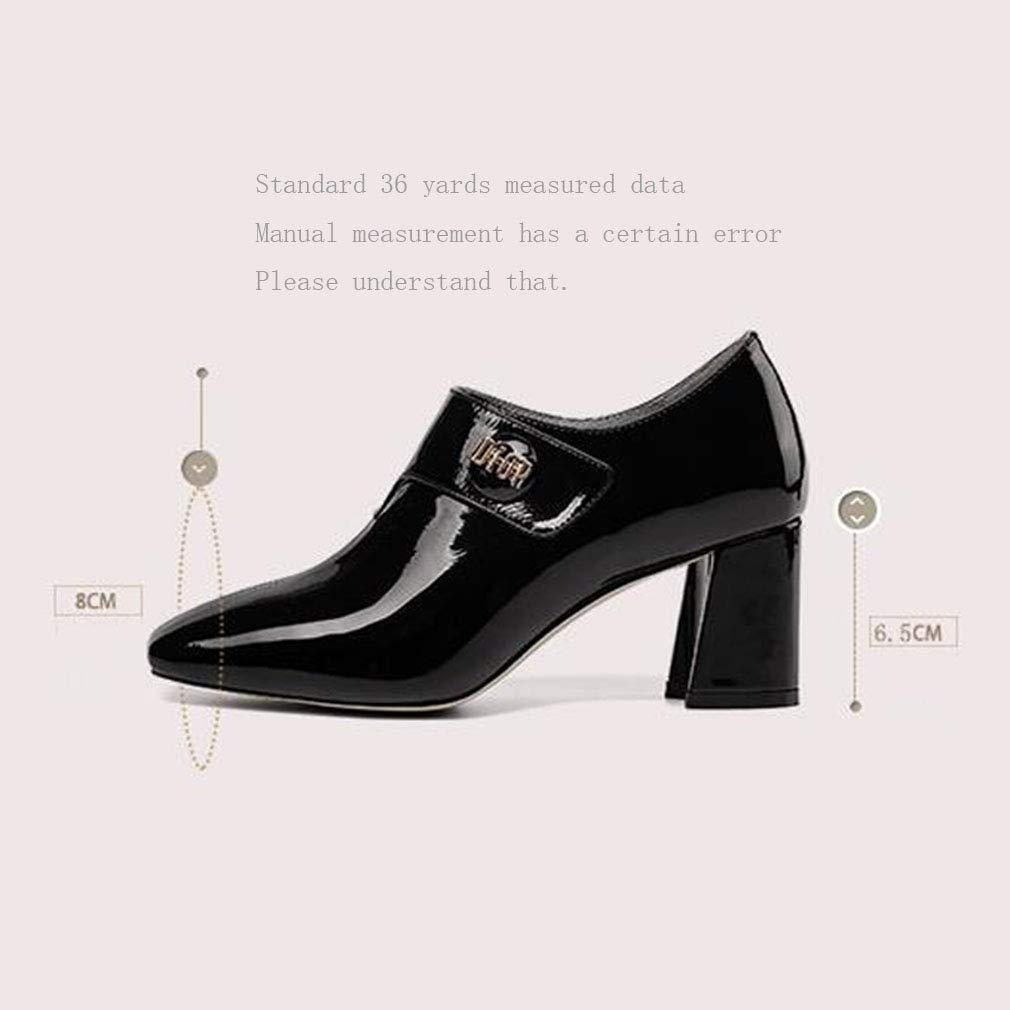 Gfphfm Damenschuhe 2019 New New New Thick Heel High Heels Damen Spring Fall Leather Simple Fashion schuhe Square Head Deep Mouth Single schuhe,A,35 391e9e