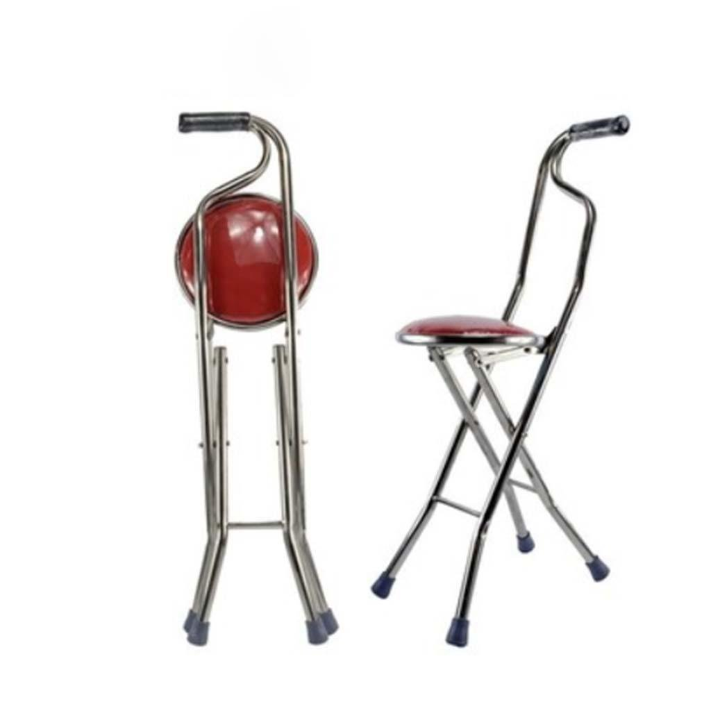MOXIN Cane seat walking stick seat canes three-legged stool chairs for the elderly the elderly walking stick stool , a , four red stool