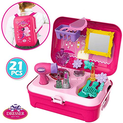 (Little Girls Play Makeup Set - Pretend Salon Beauty Makeup Kit for Toddlers Kids Vanity Case Dress Up Toys Travel Playset)