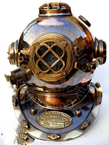 "NAUTICALMART Boston Mass Antique U S Navy Mark V Diving Divers Helmet Copper Brass Made 18"""