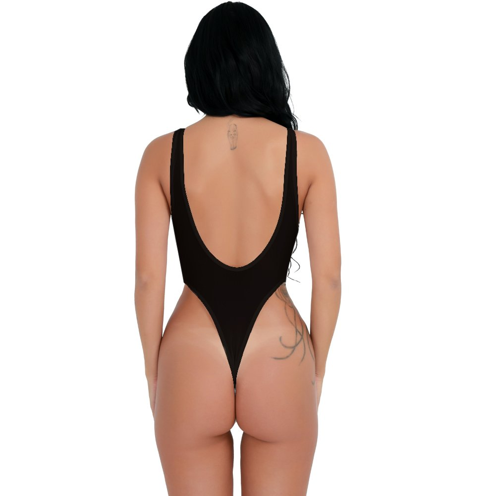 FEESHOW Womens See Through High Cut Bodysuit Thong Swimsuit Sheer Mesh  Leotard Top FX10032870-10032869 87accb4b5