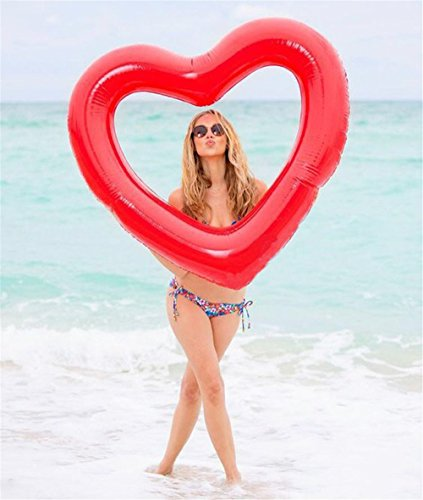 "UCLEVER Inflatable Heart Shaped Pool Float 47.3"" x 39.4"" Inflatable Swim Rings Water Fun Beach Party Toys for Kids Adults (Red)"