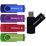 SIMMAX 5Pcs 8GB Usb Flash Drive Usb 2.0 Flash Drive Memory Stick Fold Storage Thumb Stick Pen Swivel Design (Mix Color1)