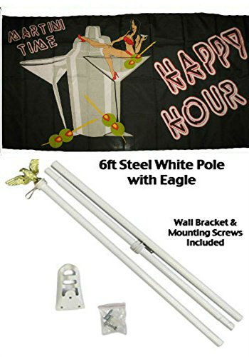 - ALBATROS 3 ft x 5 ft Advertising Happy Hour Drinking Martini Flag White with Pole Kit Set for Home and Parades, Official Party, All Weather Indoors Outdoors