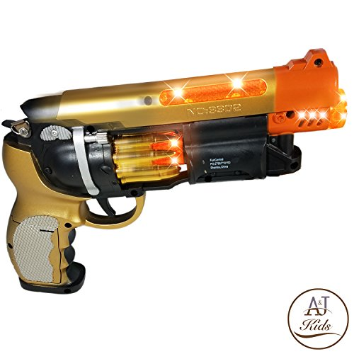 ANJ Kids Toys - Pretend Play Golden Blade Runner Style Toy Guns for Boys   Toy Pistol Gun with Sound and Flashing Lights   Detailed Craft with Rapid Firing, Barrel Vibrating and Cylinder Revolving by ANJ Kids