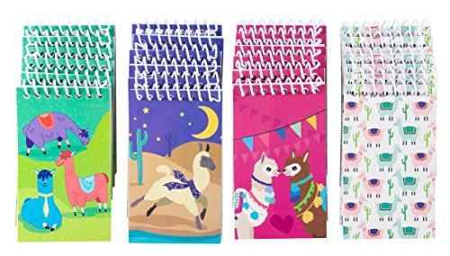 Spiral Notepad - 24-Pack Top Spiral Notebooks, Bulk Mini Spiral Notepads for Party Favors, Note Taking, To-do Lists, Lined Paper, 4 Cute Llama Designs, 3 x 5 Inches