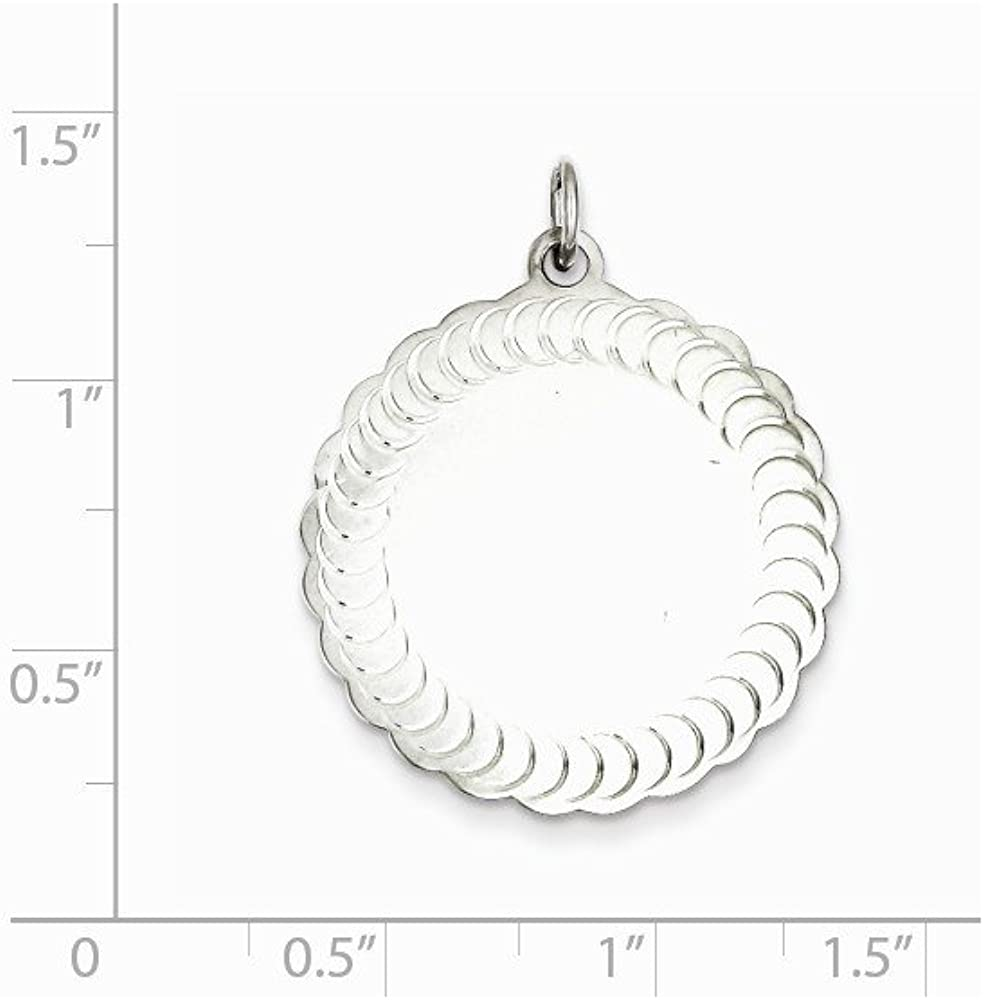16-20 Mireval Sterling Silver Engravable Scalloped Patterned Charm on a Sterling Silver Chain Necklace