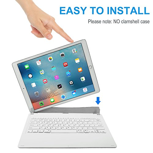 iPad Pro 12.9 inch Keyboard with 7-Colors Backlight, Raydem Ultra Slim Wireless Bluetooth Keyboard Folio 130 Degree Multi-Angle with Auto Wake/Sleep for Apple iPad Pro 12.9 inch(All Versions) White by Raydem (Image #4)