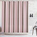 Pink Polka Dot Shower Curtain Ambesonne Brown Shower Curtain by, Little Stars in Circles Cute Pink Hearts Polka Dots on Dark Backdrop, Fabric Bathroom Decor Set with Hooks, 75 Inches Long, Dark Brown Light Pink White