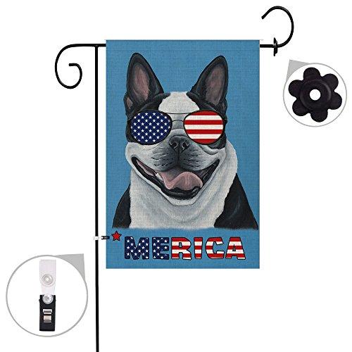 Hexagram America Boston Terrier Dog Garden Flag Burlap Double Sided Decorative Cool Dog Yard Flag 12x18 inch Prime