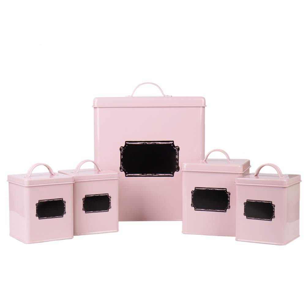 Home By Jackie X321 Set of 5 Metal Food Tin Canister/Bread Bin/Container/Box/Set (Pink)