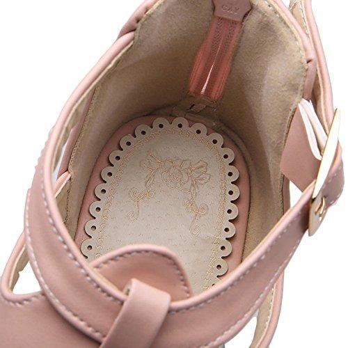 Easemax Womens Tacco Alto Zeppa Piattaforma Peep Toe Caviglia Fibbia Estirpare Zip Sandali Rosa