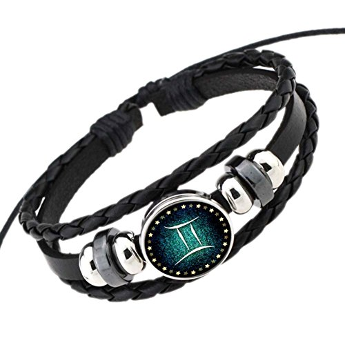 DELEY Retro 12 Constellation Hand Woven Leather Braided Punk Chain Cuff Wrap Bracelet (Hand Woven Leather)