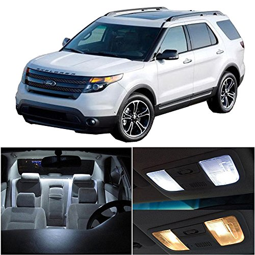 Ford Explorer Interior (CCIYU 10 Pack White LED Bulb LED Interior Lights Accessories Replacement Package Kit For 2015-2017 Ford Explorer)