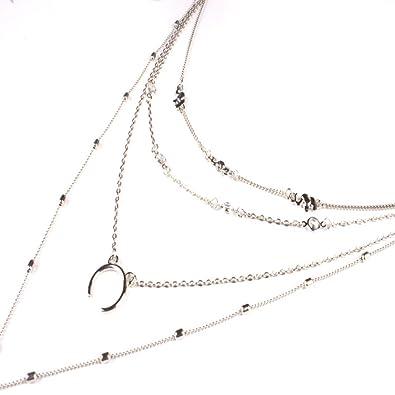 Belloc - Collar con Colgante de Luna de Plata, Diseño Bohemio ...