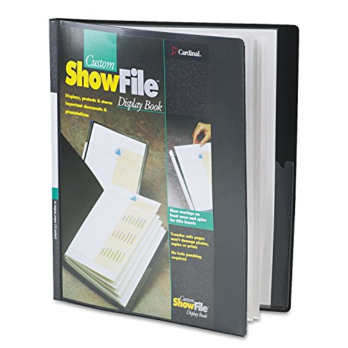 Showfile Display Book Letter - Cardinal 50132 ShowFile Display Book w/Custom Cover Pocket, 12 Letter-Size Sleeves, Black