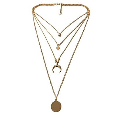 1d66bcadc15d2 Amazon.com: Koolee_Jewelry Half Moon Pendant Choker Necklace Sequins ...