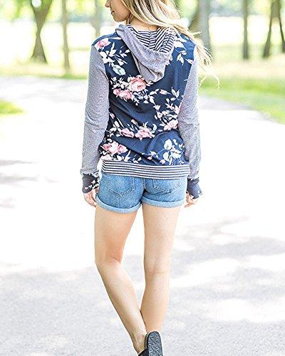 Minetom Femme Automne Hiver Floraux Sweats à capuche Fille Manches Longues Pull Hoodies Veste Oversize Jumper Noir